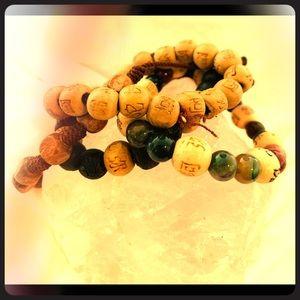 Buddhist wood and natural stone bracelets